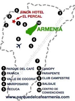 bbicacion Hotel El Percal Quindio