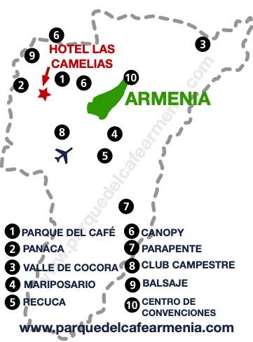 bbicacion Hotel Campestre Las Camelias