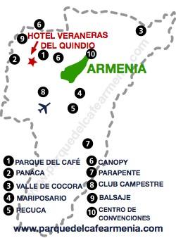 bbicacion Hotel Veraneras del Quindío