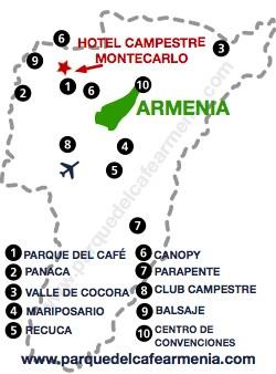bbicacion Hotel Montecarlo Eje Cafetero